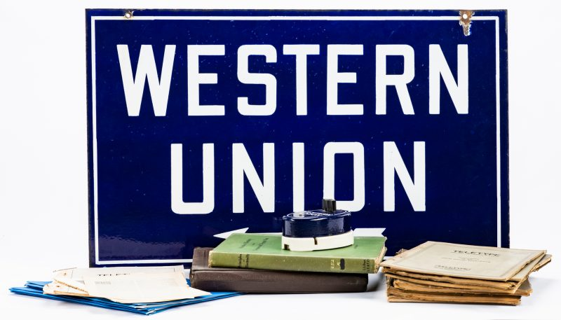 """Lot 416: Western Union Telegraph Call Box w/ Sign and Assorted Papers & Books, inc. """"Teletype"""""""