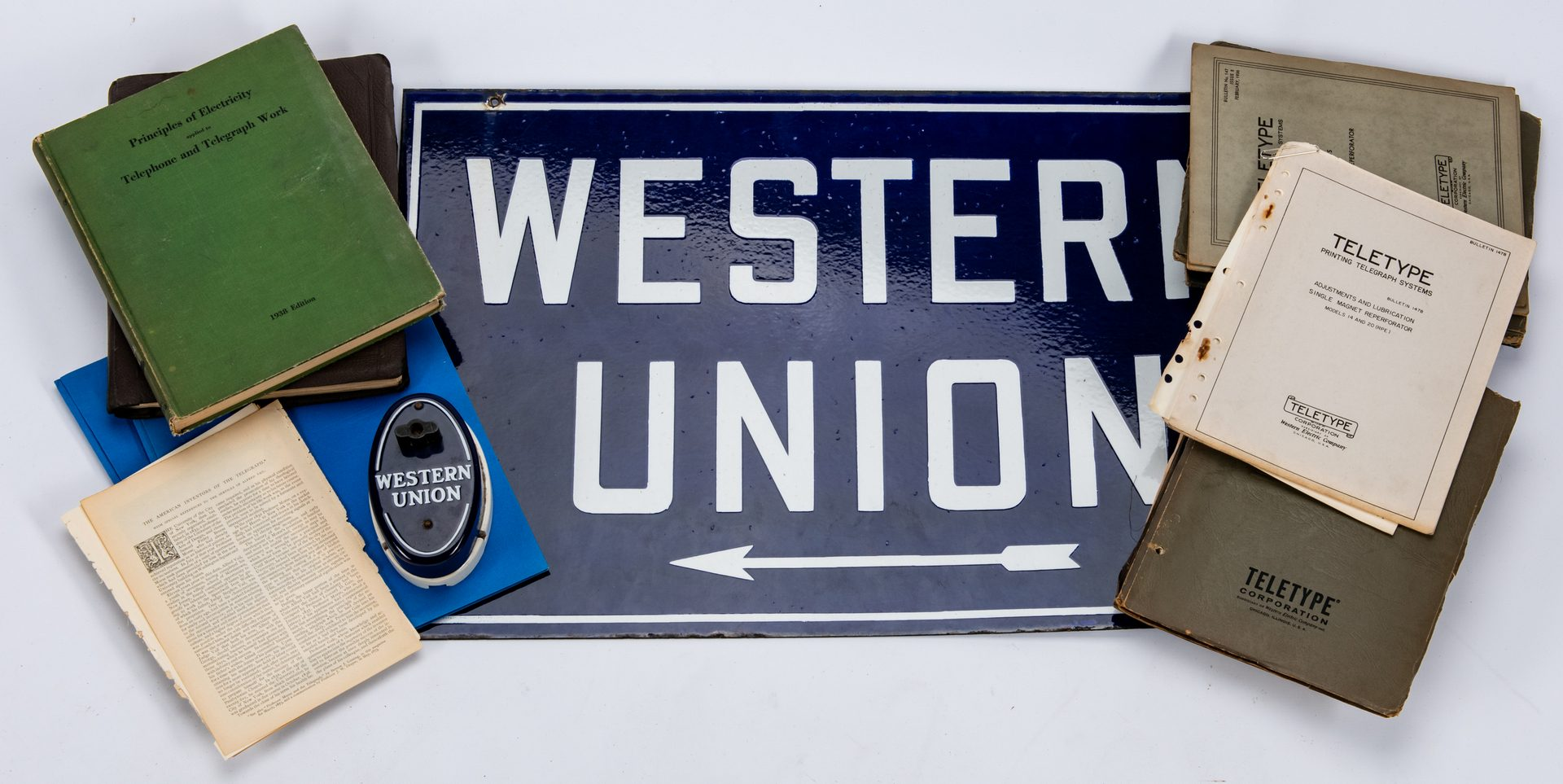 "Lot 416: Western Union Telegraph Call Box w/ Sign and Assorted Papers & Books, inc. ""Teletype"""