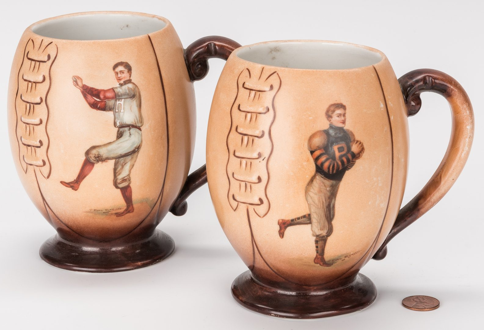 Lot 419: 2 Harvard Sport Team Mugs by F. Earl Christy