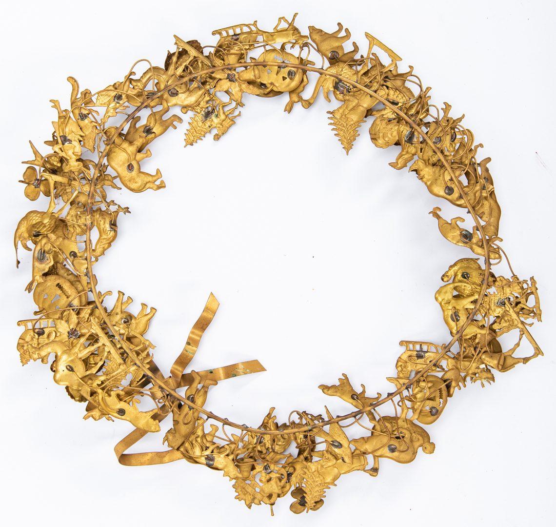 Lot 422: 6 Christmas Related Items, inc. Dresden Brass Wreath