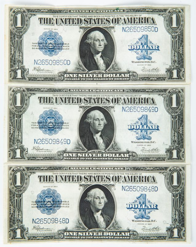 Lot 432: 3 Sequential 1923 Large $1 Bills, XF/AU condition