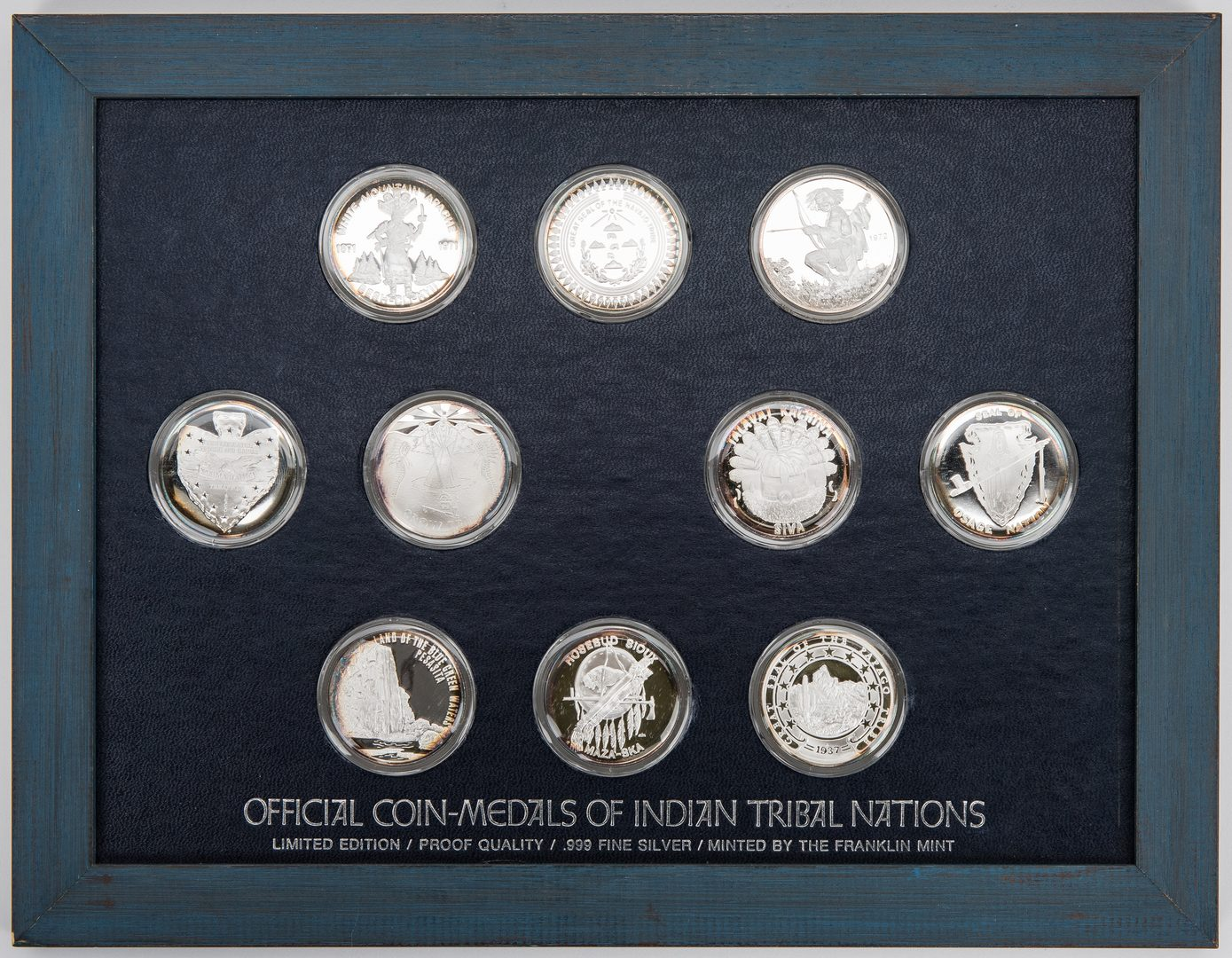 Lot 434: 20 Silver Coins-Medals of Indian Nations, 2 boxes
