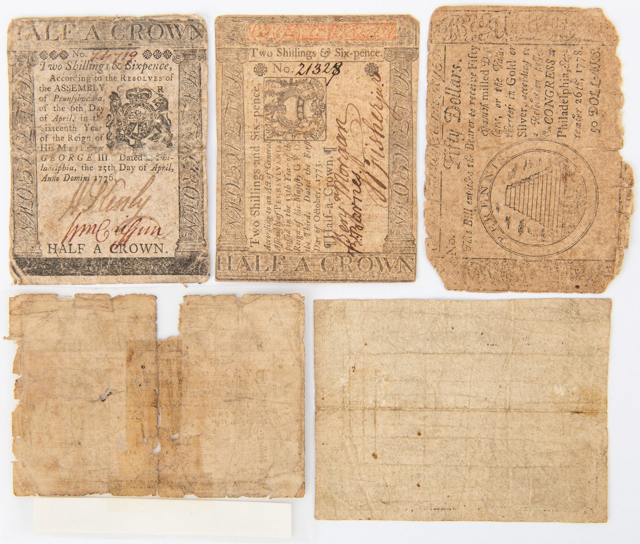Lot 435: American Colonial Currency, 5 items