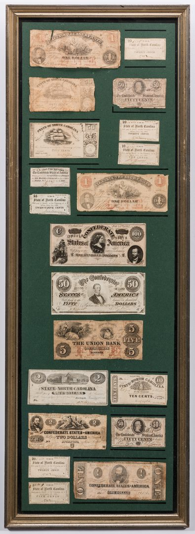 Lot 437: 38 Pcs. Framed Confederate Obsolete Currency