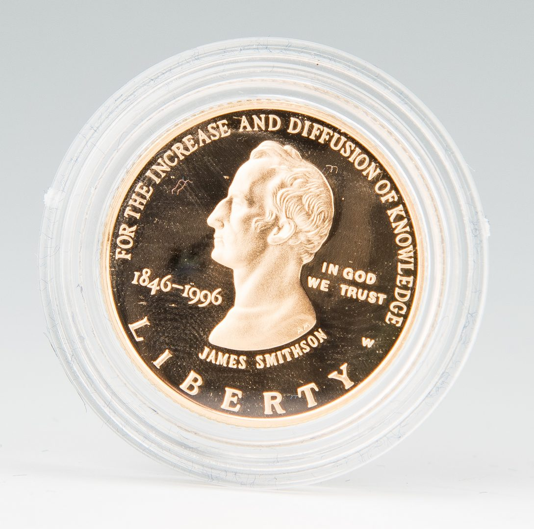 Lot 439: 1996 Smithsonian Proof Gold Five Dollar Coin