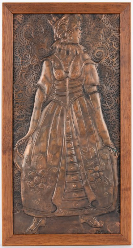 Lot 55: Gregory Ridley Copper Plaque, Young Woman