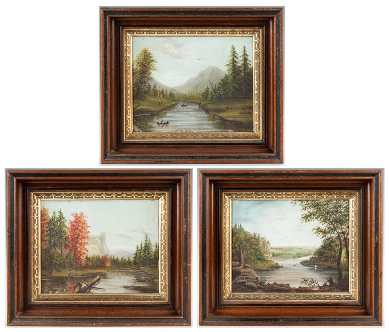 Lot 59: 3 Small Hudson River Style Paintings