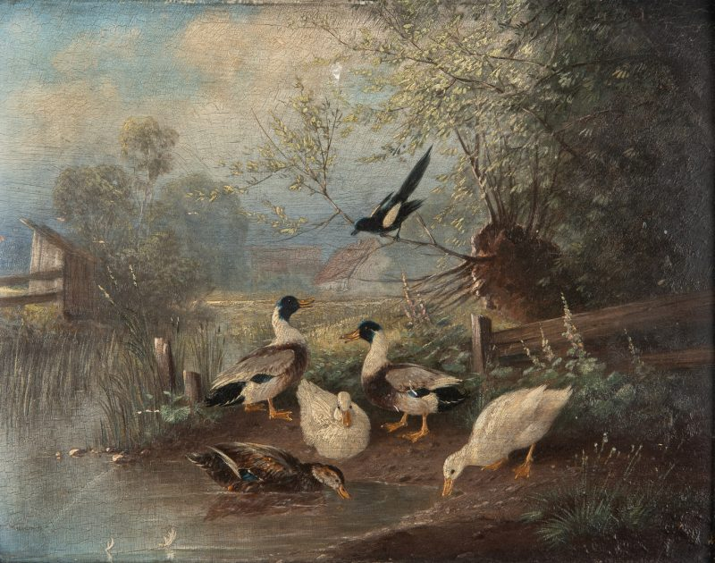 Lot 62: Otto Scheuerer Oil Painting of Ducks