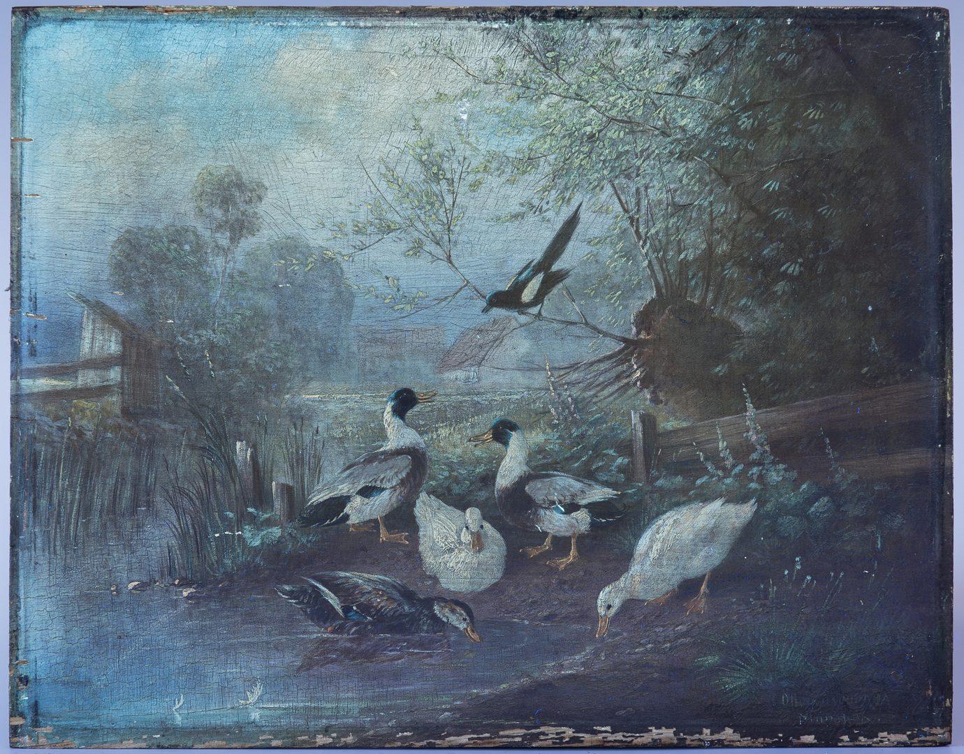 Lot 62: Otto Scheuerer Oil Painting of Ducks