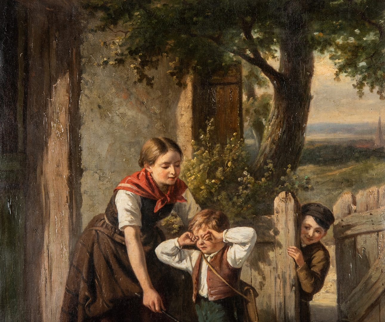 Lot 63: 19th c. Genre Painting by Jan Walraven