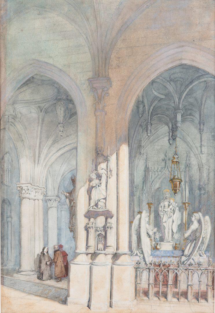 Lot 66: Alfred Conrade Cathedral Scene Watercolor