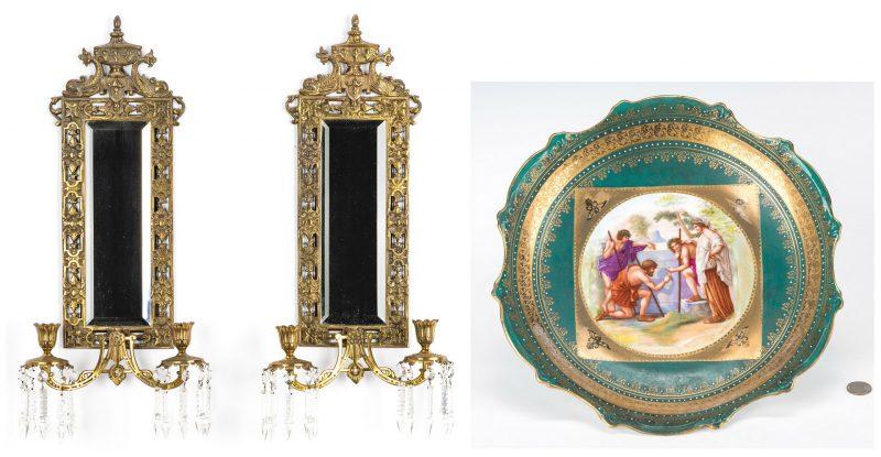 Lot 73: Bradley & Hubbard mirror sconces plus Austrian cabinet plate