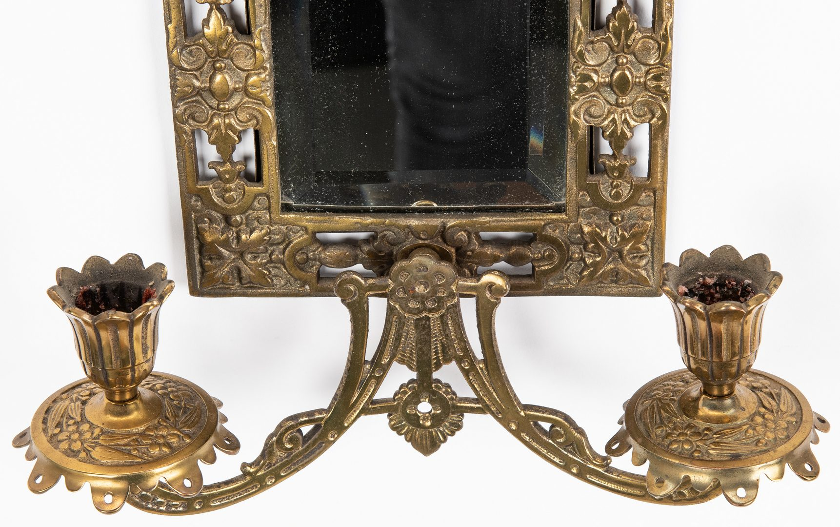 Lot 73: Bradley & Hubbard mirror sconces plus Austrian cabinet plate