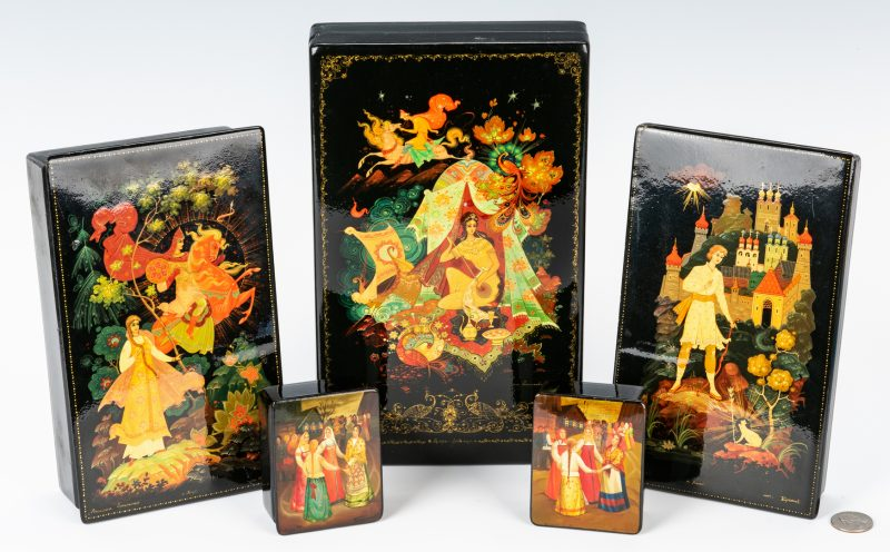 Lot 75: 5 Palekh School Russian Lacquer Boxes