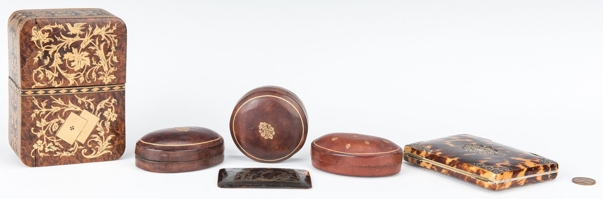 Lot 76:  5 Decorative Boxes and 1 Plaque