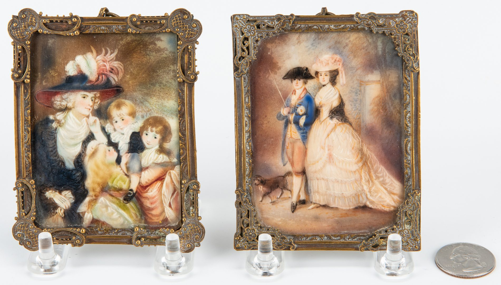 Lot 77: Pr. Miniature Portraits and French Sconce