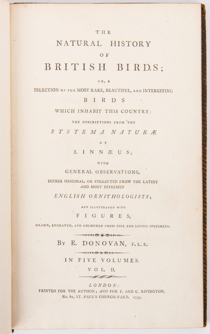 Lot 86: Donovan's Natural History of Birds, 5 Vols.
