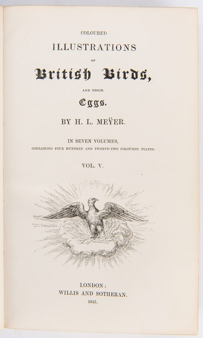 Lot 87: Meyer's British Birds and Their Eggs, 7 vols., 1857