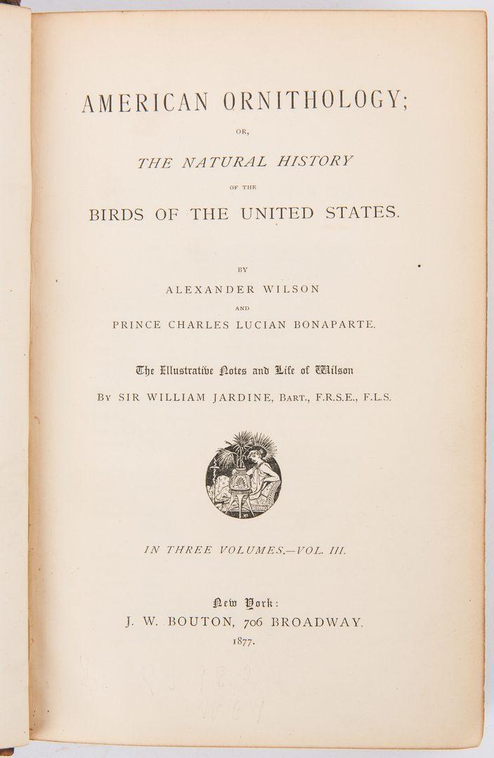 Lot 90: Wilson & Bonaparte, American Ornithology, Vol. I-III, 1877