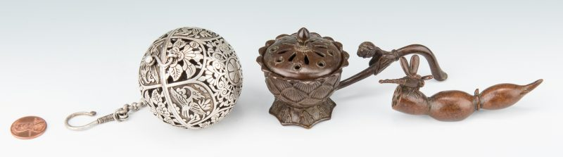 Lot 9: 3 Chinese Metal Items, inc. Incense Burner, Tea Ball