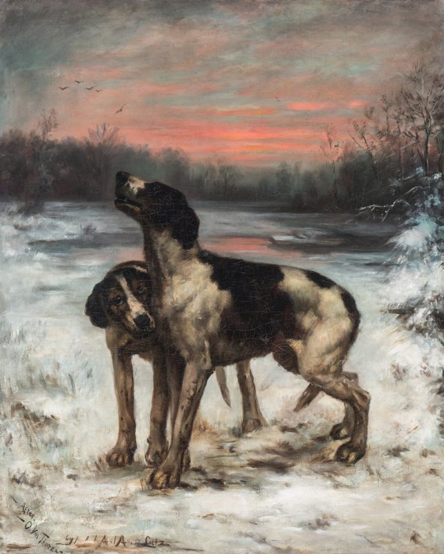 Lot 100: Adelia Armstrong Lutz O/C, Two Hounds