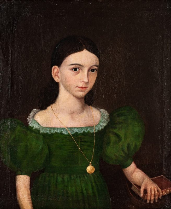 Lot 101: Southern Folk Art Portrait of a Girl