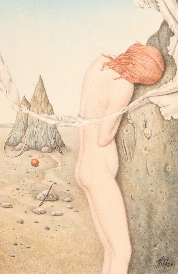 Lot 105: Werner Wildner Oil on Panel, Surrealist Female Nude in Landscape