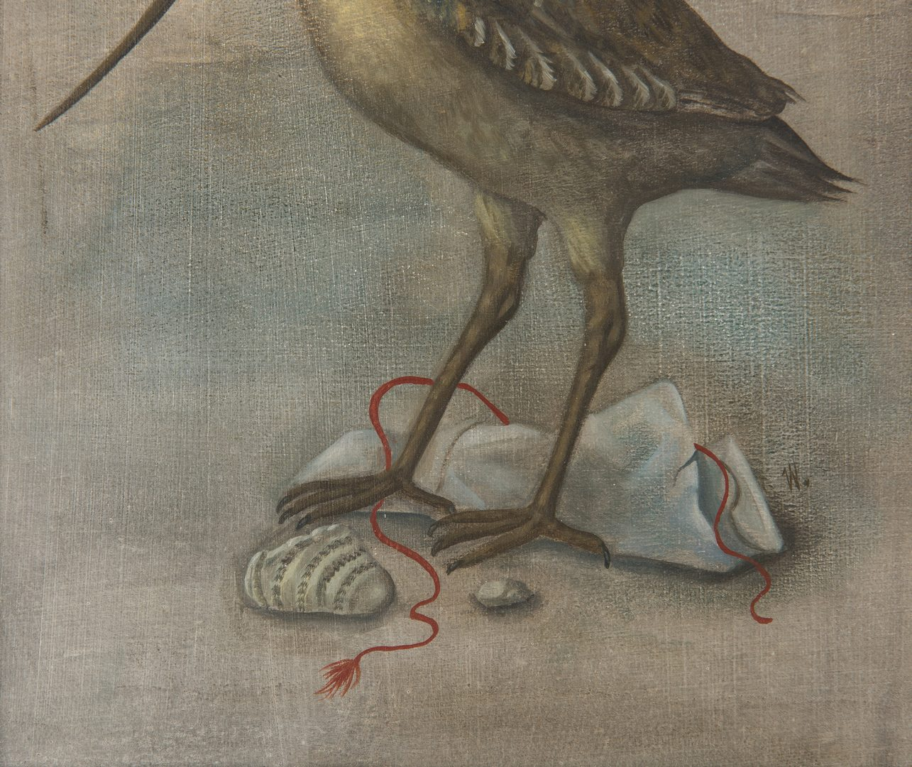 Lot 107: Werner Wildner painting, Bird and Shells