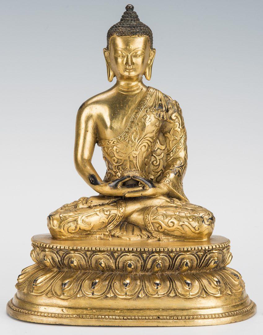 Lot 10: Chinese Gilt Bronze Amitayus Figure