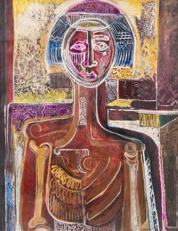 "Lot 111: David Driskell Egg Tempera on Paper, ""The Sentinel"""
