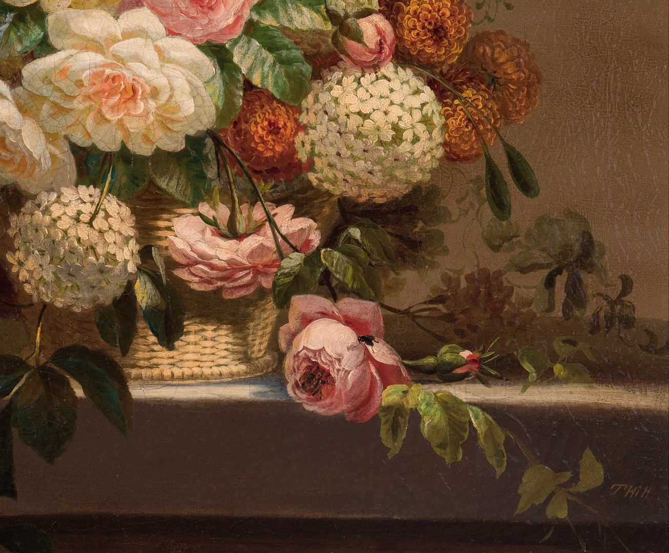 Lot 116: Thomas Hill O/C Still Life, Flowers with Fly