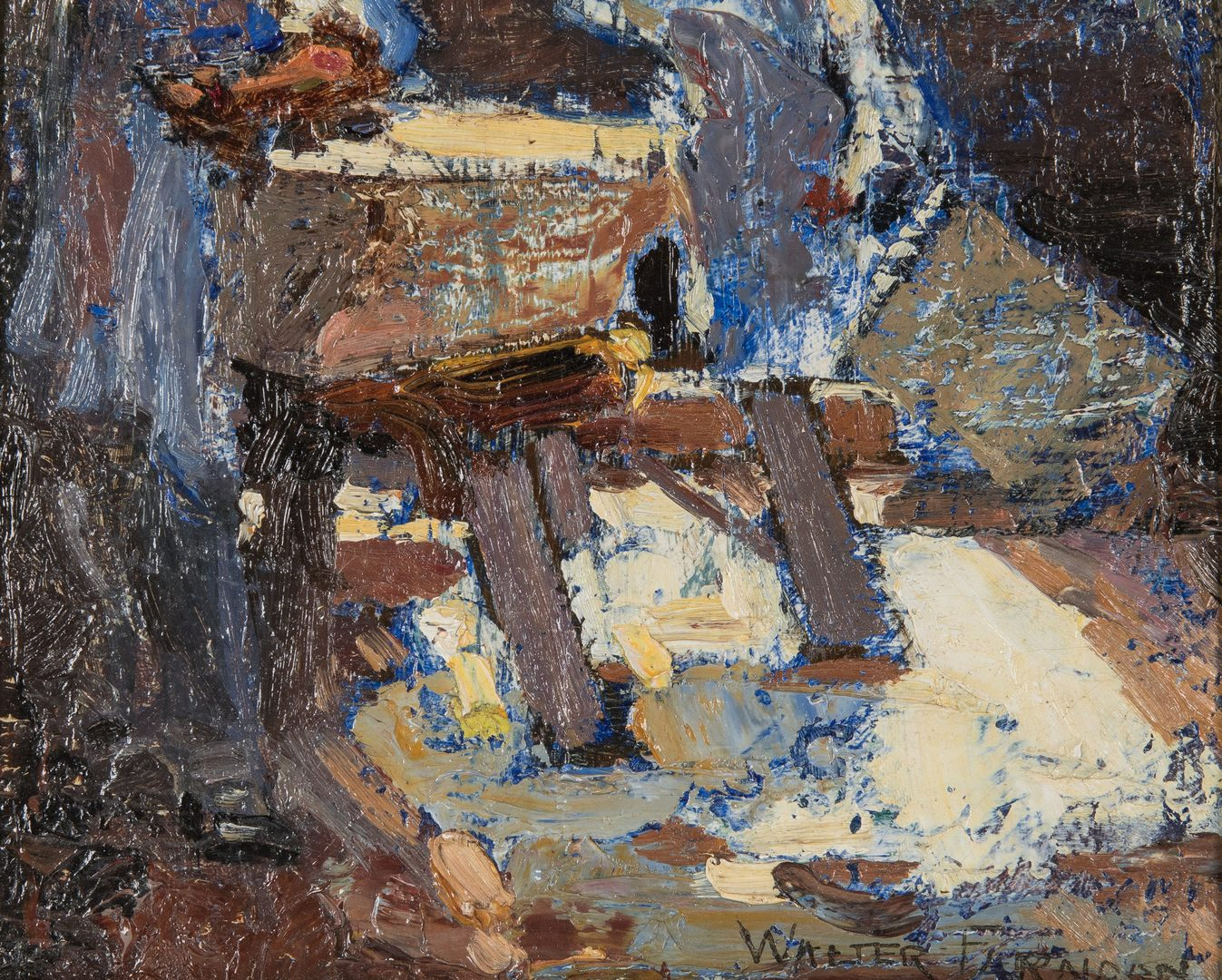 "Lot 117: Walter Farndon, O/B, ""Stone Cutters,"" exhibited"