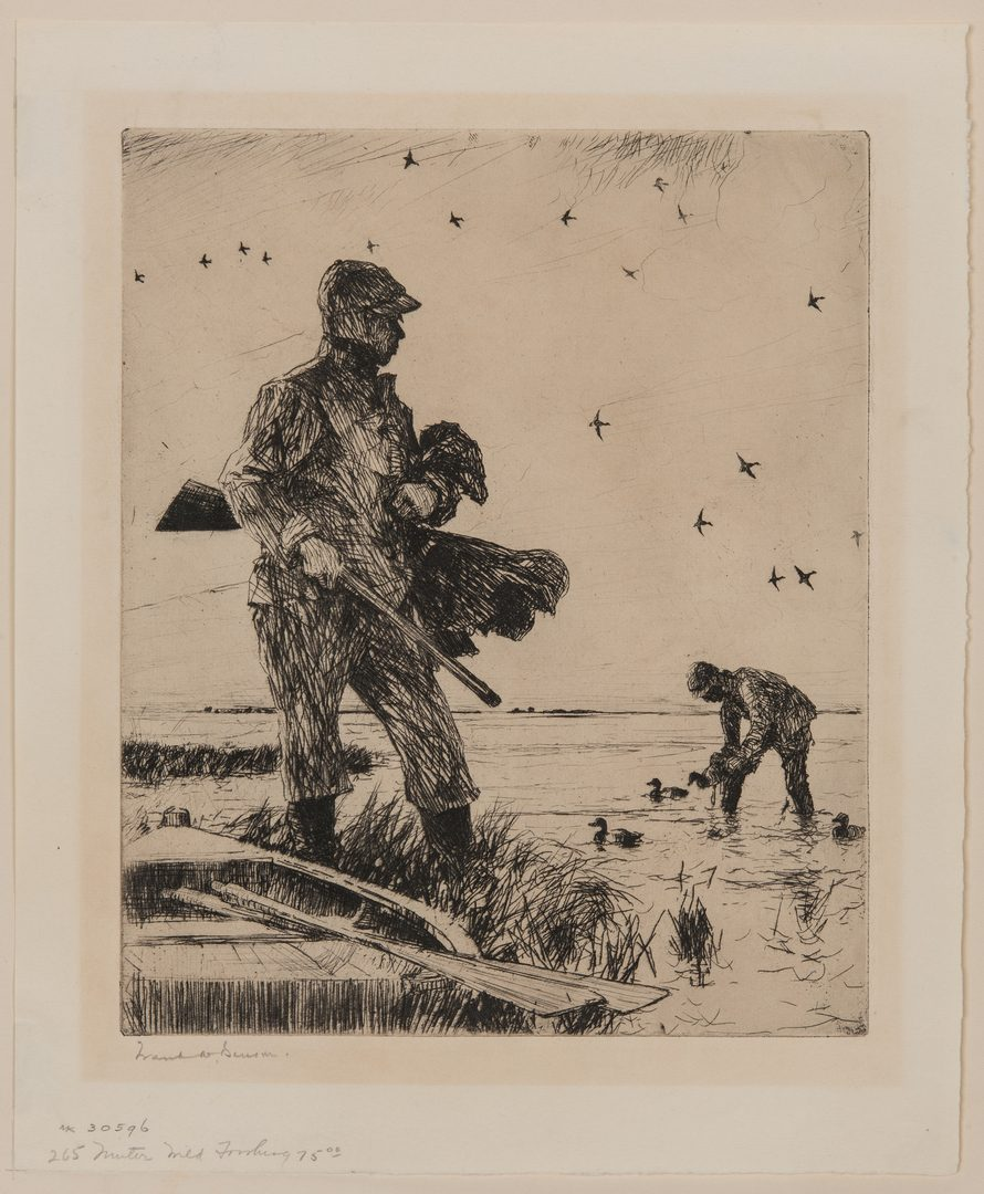 "Lot 119: Frank W. Benson Etching, ""Winter Wild Fowling"""