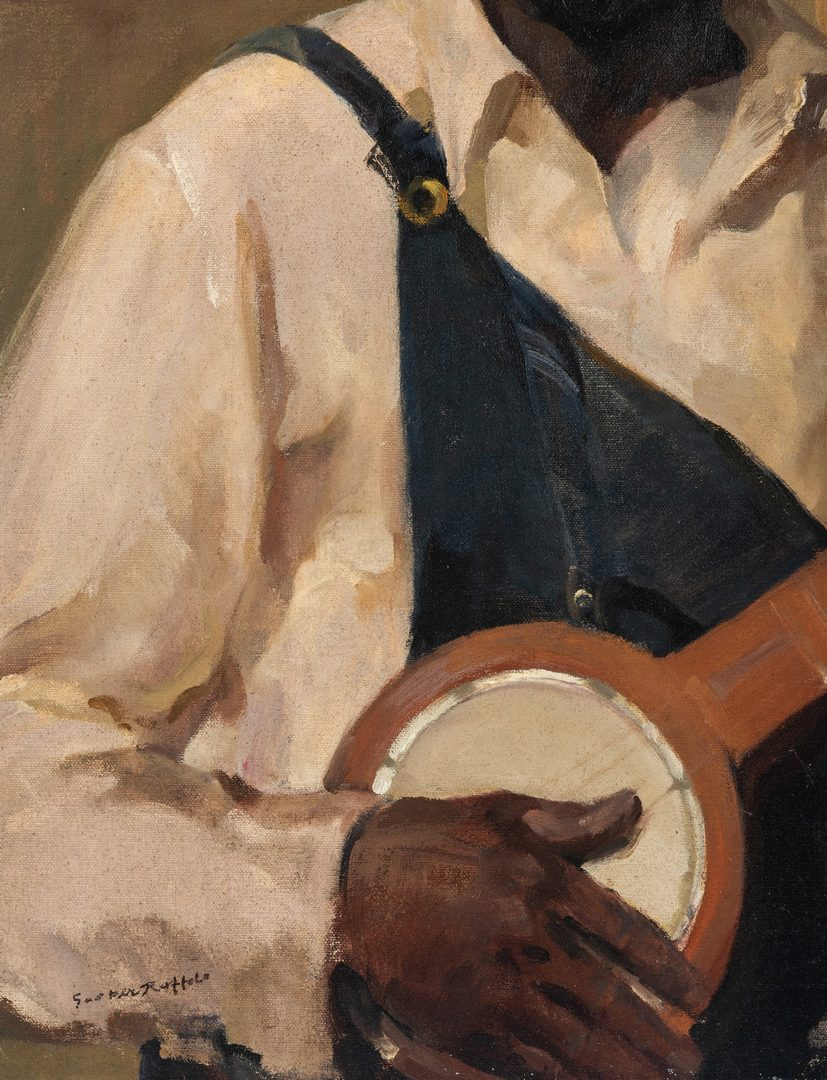 Lot 120: Gaspare Ruffalo, O/C, African American Banjo Player