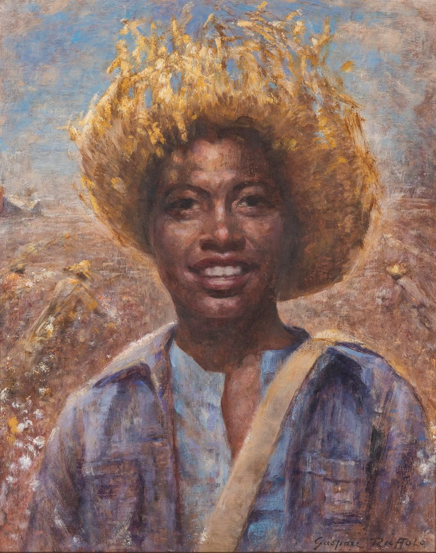 Lot 121: Gaspare Ruffalo, O/B, African American Young Man w/ Straw Hat