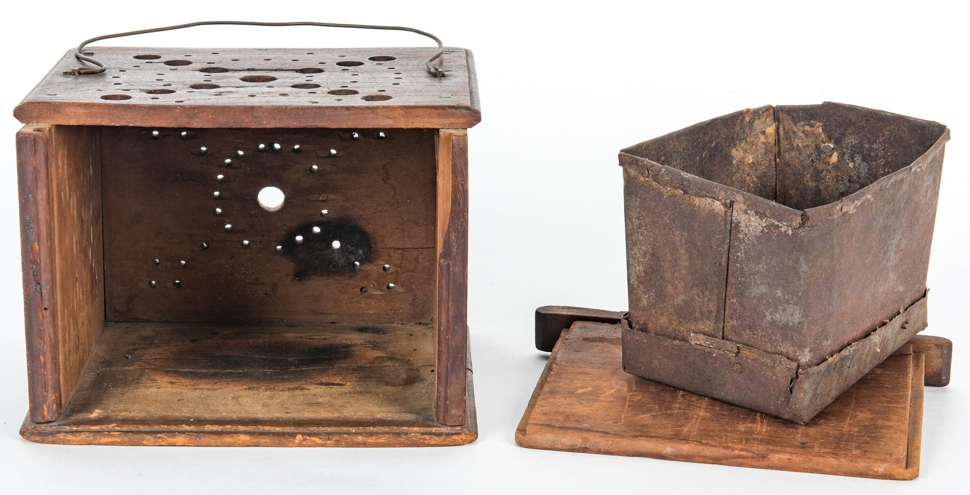 Lot 124: 3 19th c. Wood Boxes & Foot Warmer