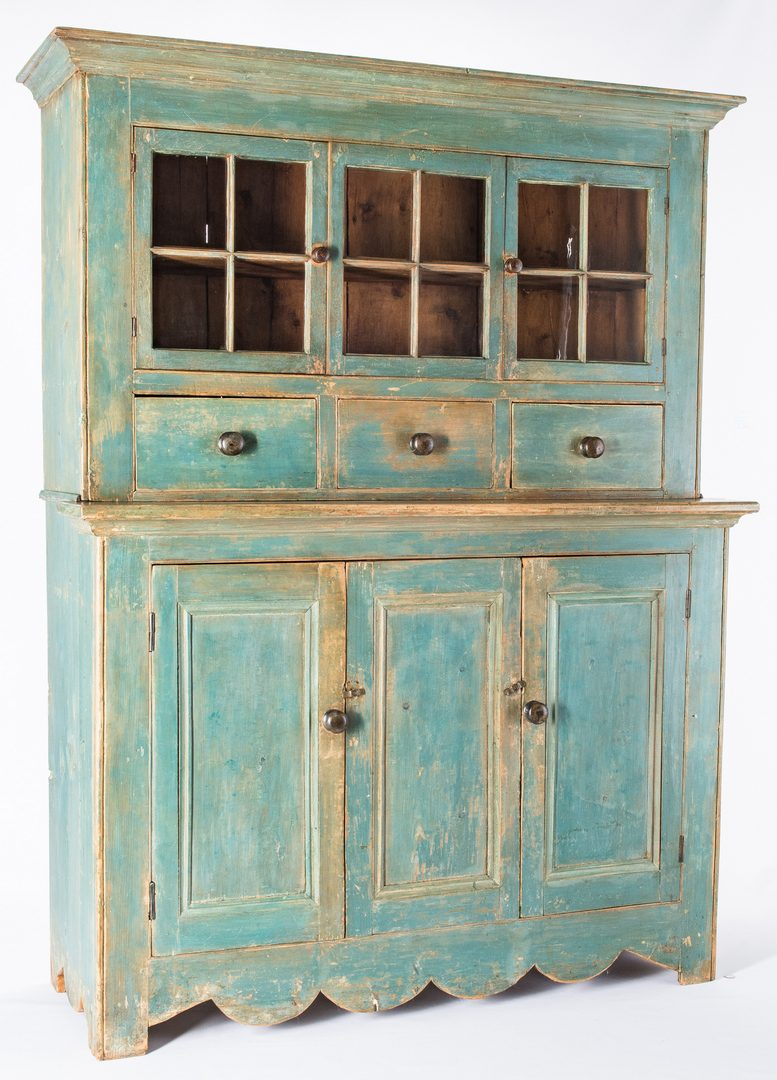 Lot 125: 19th c. Painted Wall Cupboard