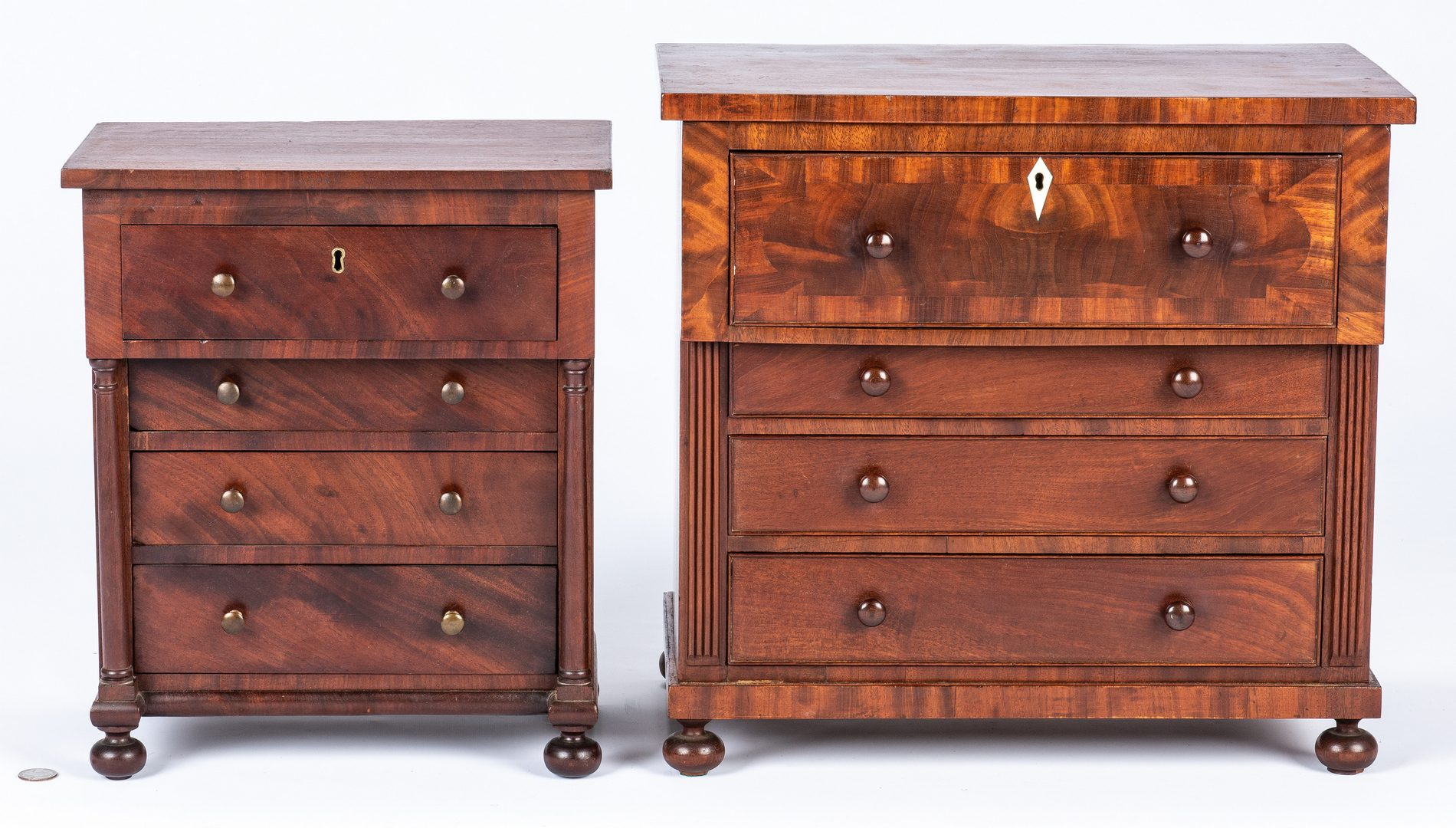 Lot 127: 2 Mid Atlantic Miniature Classical Chests of Drawers
