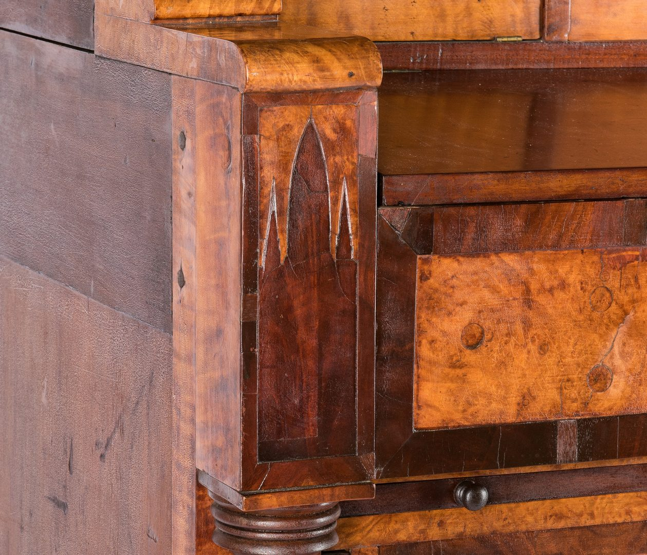 Lot 128: Pennsylvania Gothic Classical Secretary Bookcase