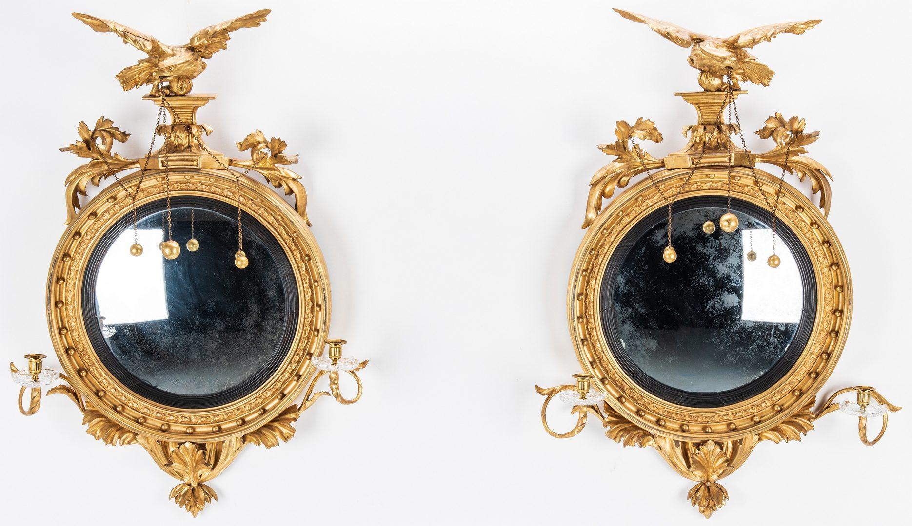 Lot 130: Pair of Federal Period Girandole Mirrors
