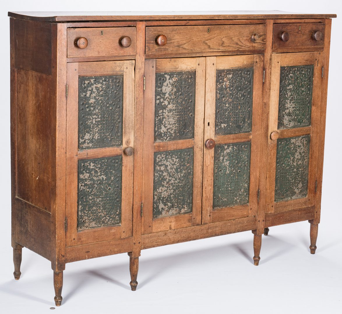 Lot 138: SW Virginia Pie Safe Sideboard, Urn Tins