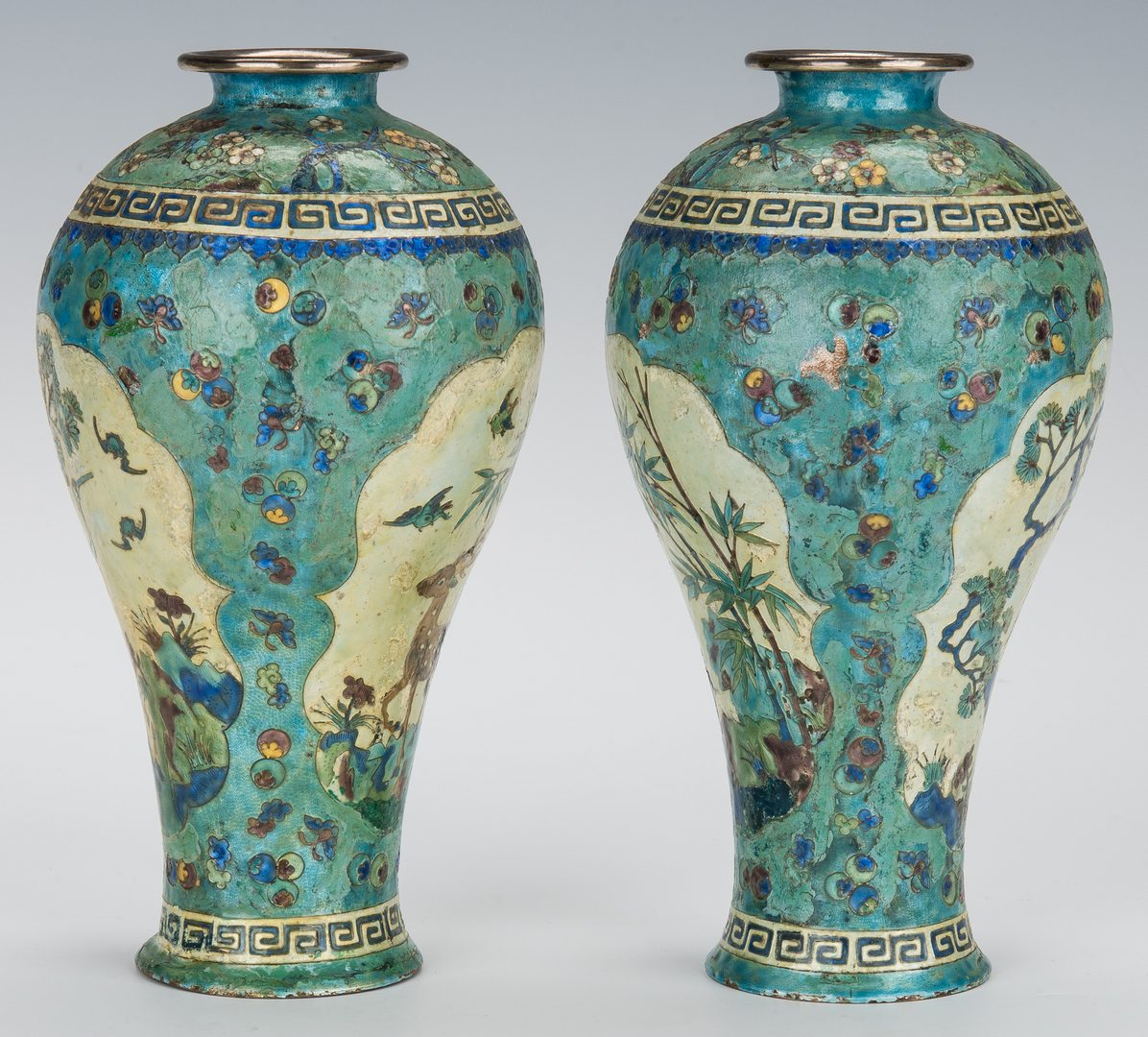 Lot 13: Pr. Chinese Silver & Cloisonne Vases plus cloisonne box