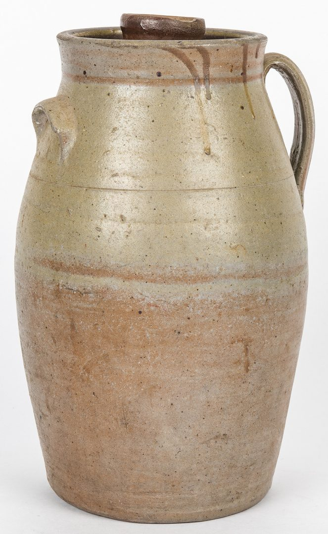 Lot 146: Middle TN Stoneware Churn, Bottle and Pitcher – 3 pcs