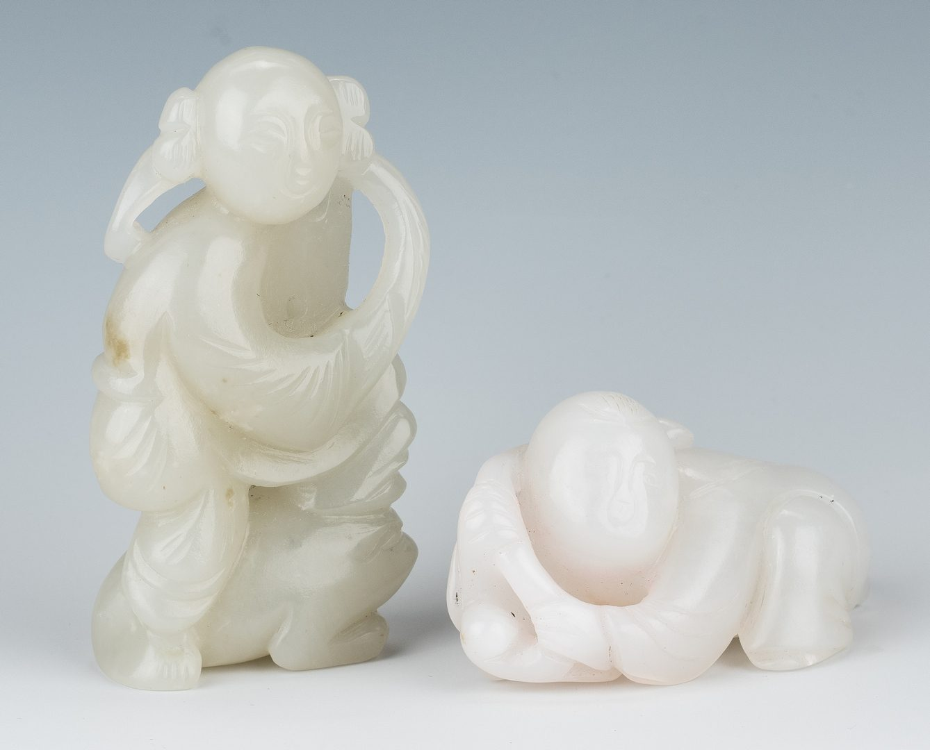 Lot 14: Carved Jade Boulder & 2 Jade Figures