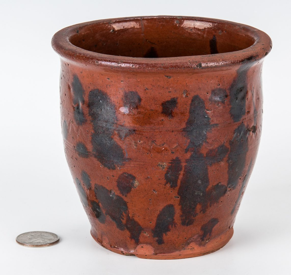 Lot 152: East TN Earthenware Cream Pot, Manganese Decorated, Exhibited