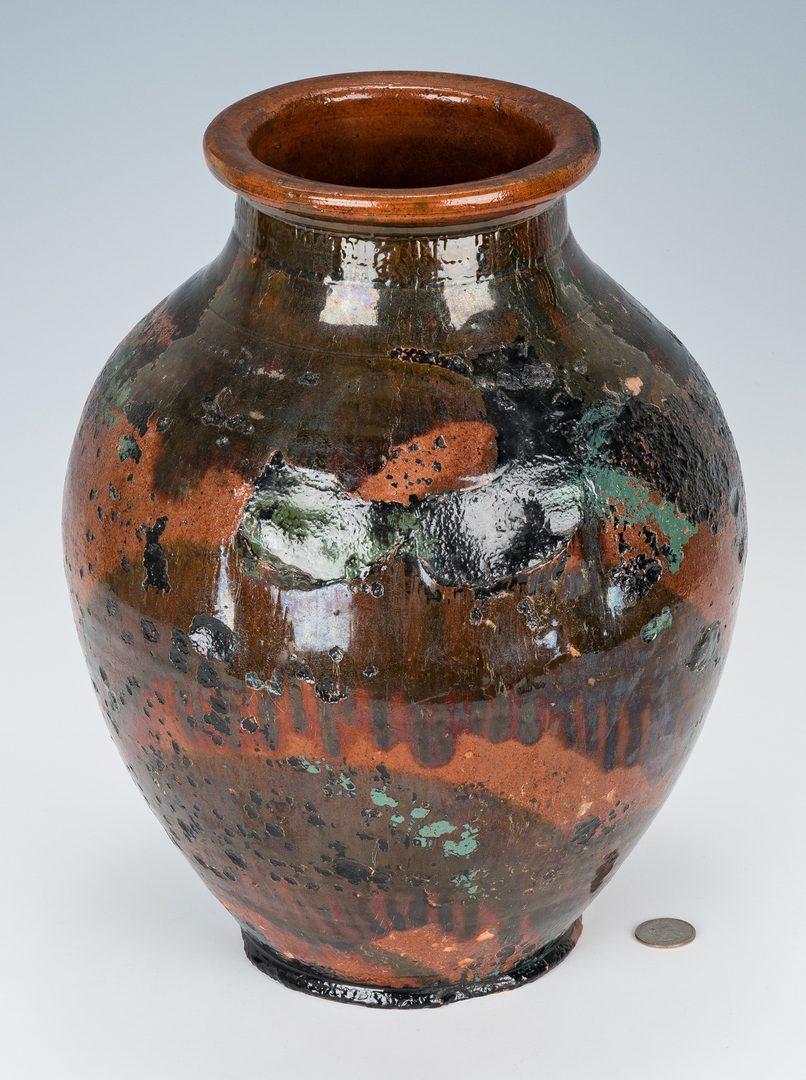 Lot 157: Greene County, TN Redware Jar attrib. C.A. Haun