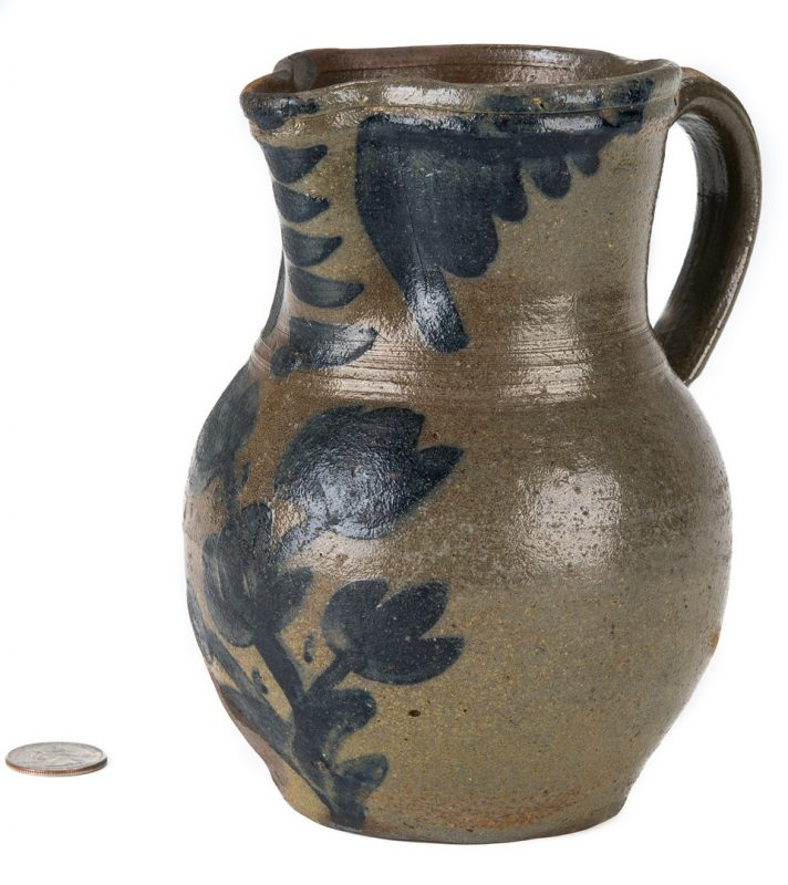Lot 159: Southwest VA Stoneware Pitcher, Cobalt Decoration, Exhibited
