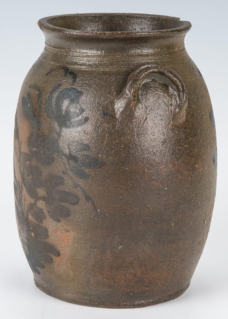 Lot 160: Small Southwest VA Stoneware Jar, Cobalt Decorated, Exhibited