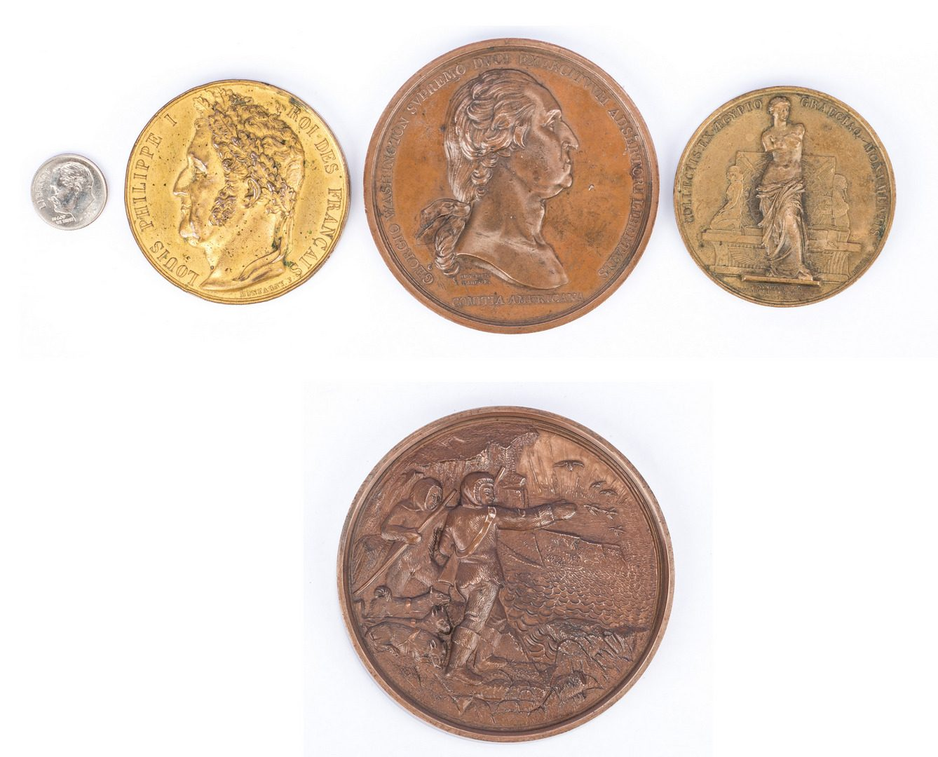 Lot 166: Group of 4 19th Cent. French/American Bronze Medals