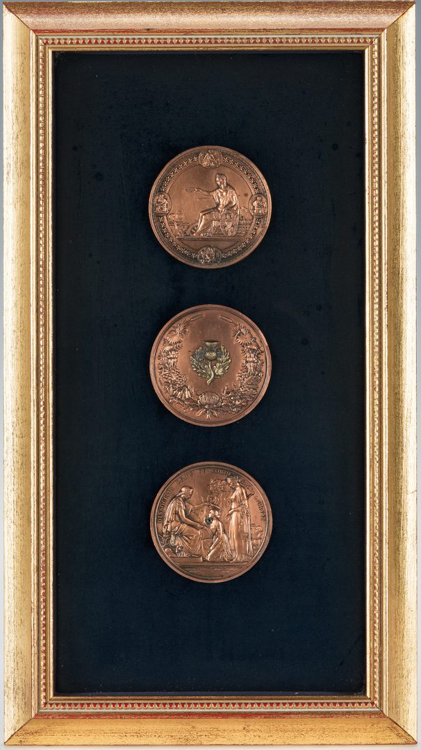 Lot 169: 4 Medallions in 2 Frames, incl. Wyon 1851 Exhibition
